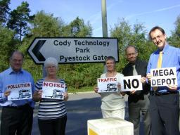 Local Lib Dems campaigning against the Pyestock mega-depot